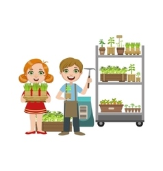Girls and boy with gardening inventory vector