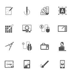 Graphic Design Black Icons vector image vector image