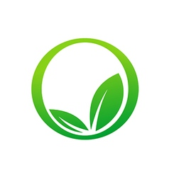 Green leaf botany round icon eco logo vector