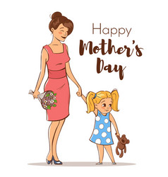 happy mother with her daughter vector image vector image