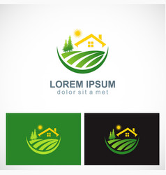 house landscape village nature logo vector image