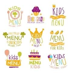 Kids organic menu hand drawn banner set vector