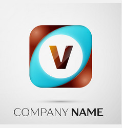 letter v logo symbol in the colorful square on vector image vector image