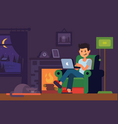 Man in home interior looking in notebook vector