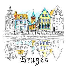 scenic city view of bruges canal with beautiful vector image
