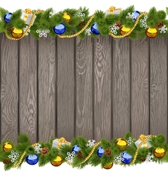 Seamless Christmas Old Board with Golden Beads vector image vector image