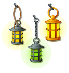 Set of antique lanterns on chains and rings vector