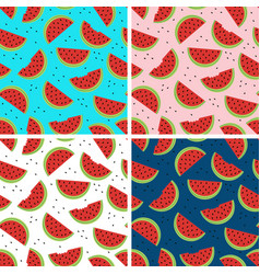 Set of seamless pattern with watermelon vector