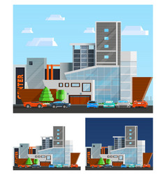 Shopping Mall Building Compositions Set vector image
