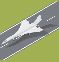 Supersonic passenger airliner isometric icon vector