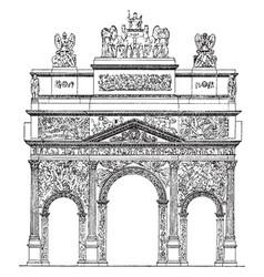 Triumphal arch the roman arch in orange vintage vector