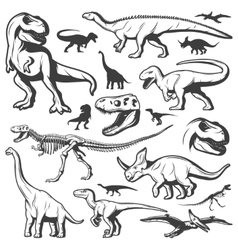 Vintage dinosaurs collection vector