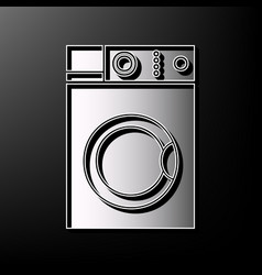 Washing machine sign gray 3d printed icon vector
