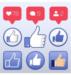Thumb up like follower comment icons set vector