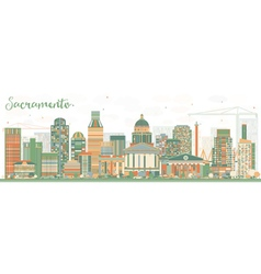 Abstract sacramento skyline with color buildings vector