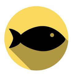 fish sign flat black icon vector image