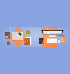 Workplace desk top angle view laptop and desktop vector