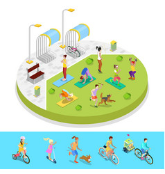 Isometric city park composition with active people vector