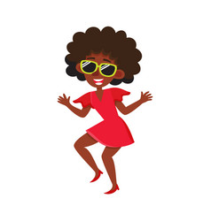Pretty black african american woman dancing at vector