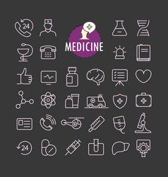 different medicine icons collection web and vector image