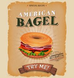 American bagel snack poster vector