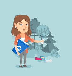 Caucasian woman collecting garbage in the forest vector