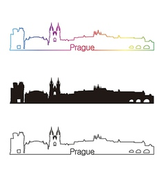 Prague skyline linear style with rainbow vector