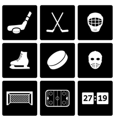Black hockey icon set vector