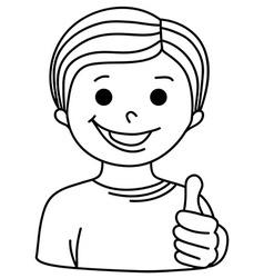 Cartoon Smiling Boy showing thumb up vector image