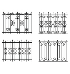 Silhouette of different old street fences vector