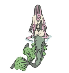 Mermaid back vector