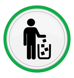 Icon man throws garbage in the cart vector