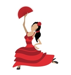 Flamenco dancer girl cartoon icon vector