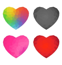 Abstract polygon heart set vector