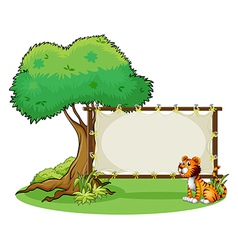A tiger sitting at the right side of a signage vector image
