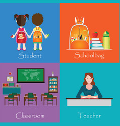 Back to school theme set with student vector