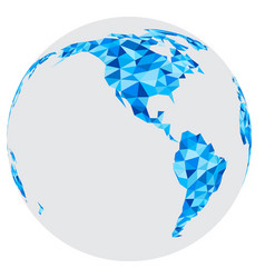 Blue mosaic geometric abstract globe vector