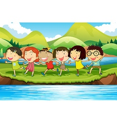 Children having fun at the pond vector