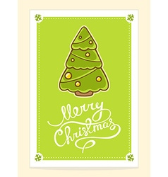 christmas tree with hand written text on vector image vector image