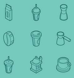 Coffee colored outline isometric icons vector