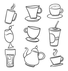 Doodle of various drink hand draw vector