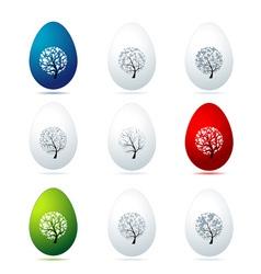 Easter eggs design art trees vector image