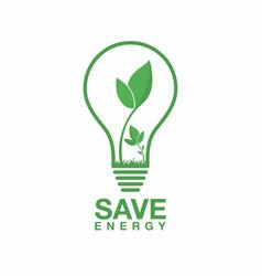 ecology logo energy saving lamp symbol icon eco vector image