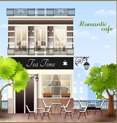 European house with cafe vector