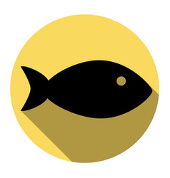 Fish sign flat black icon vector