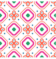 Geometric mediterranean coral red and white vector