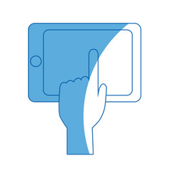 Hand touch smartphone display device app vector