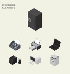 Isometric cabinet set of computer scanner laptop vector