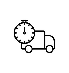 line fast delivery truck icon on white background vector image