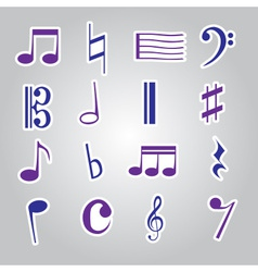 Music note stickers icon set eps10 vector